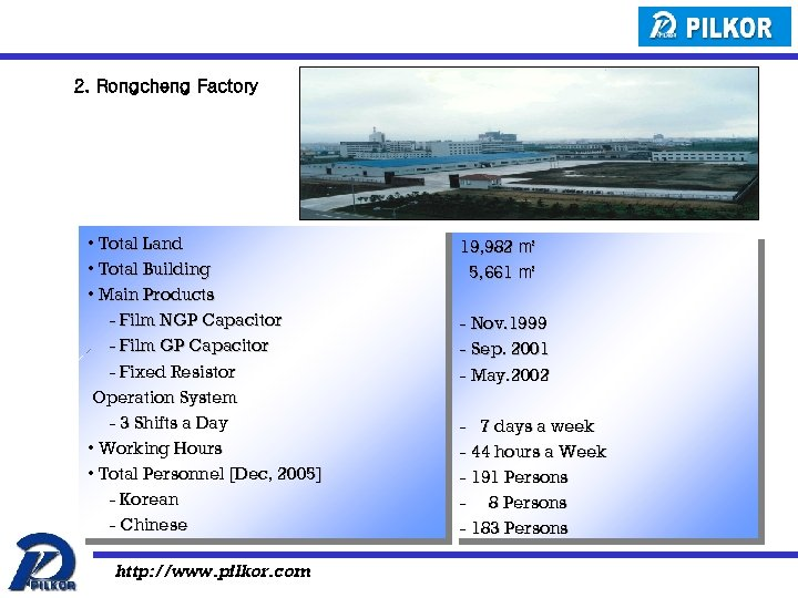 2. Rongcheng Factory • Total Land • Total Building • Main Products - Film