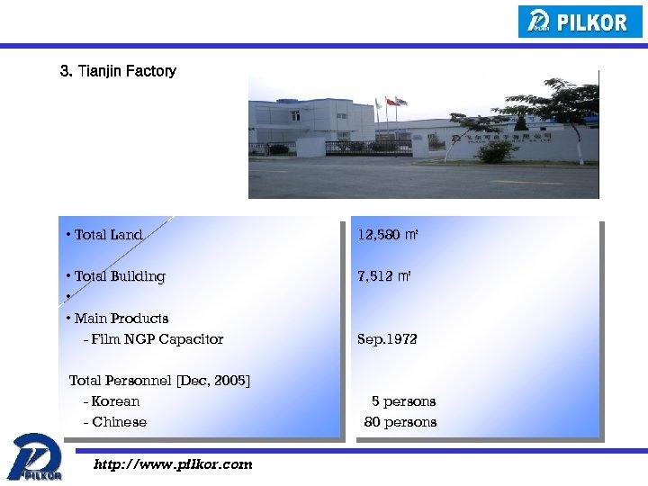 3. Tianjin Factory • Total Land 12, 580 ㎡ • Total Building • •