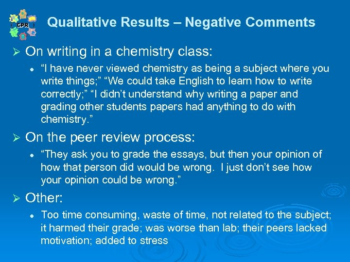Qualitative Results – Negative Comments Qualitative Ø On writing in a chemistry class: l
