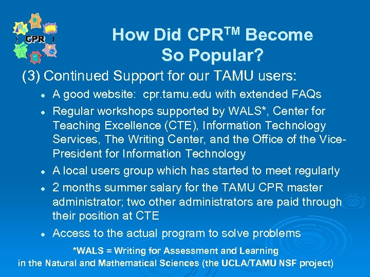 How Did CPRTM Become So Popular? (3) Continued Support for our TAMU users: l