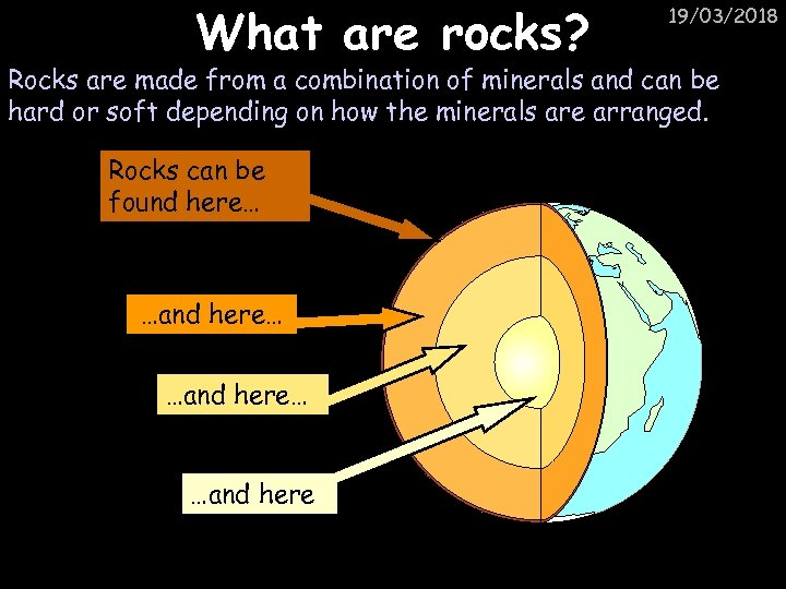 What are rocks? 19/03/2018 Rocks are made from a combination of minerals and can