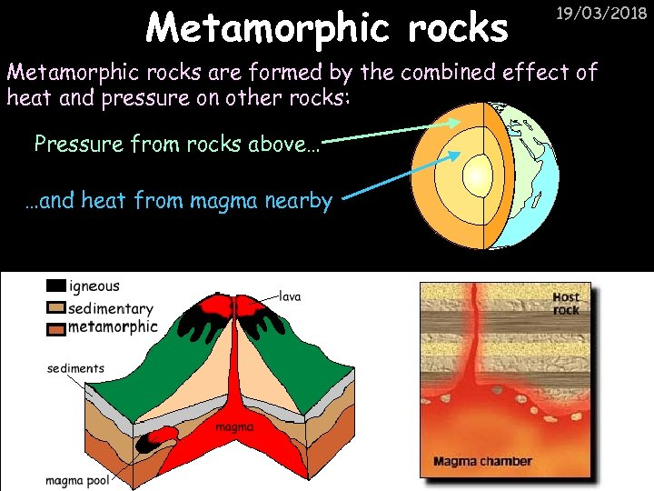 Metamorphic rocks 19/03/2018 Metamorphic rocks are formed by the combined effect of heat and