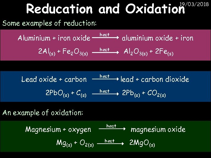 Reducation and Oxidation 19/03/2018 Some examples of reduction: heat aluminium oxide + iron 2