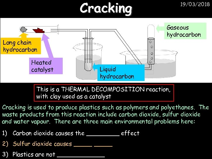 Cracking Gaseous hydrocarbon Long chain hydrocarbon Heated catalyst 19/03/2018 Liquid hydrocarbon This is a