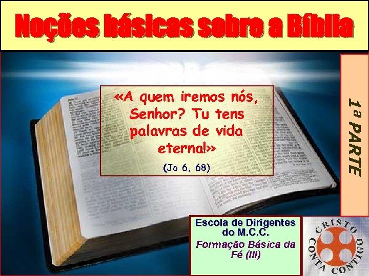 Noções básicas sobre a Bíblia (Jo 6, 68) Escola de Dirigentes do M. C.