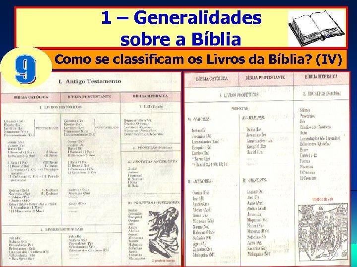 1 – Generalidades sobre a Bíblia Como se classificam os Livros da Bíblia? (IV)