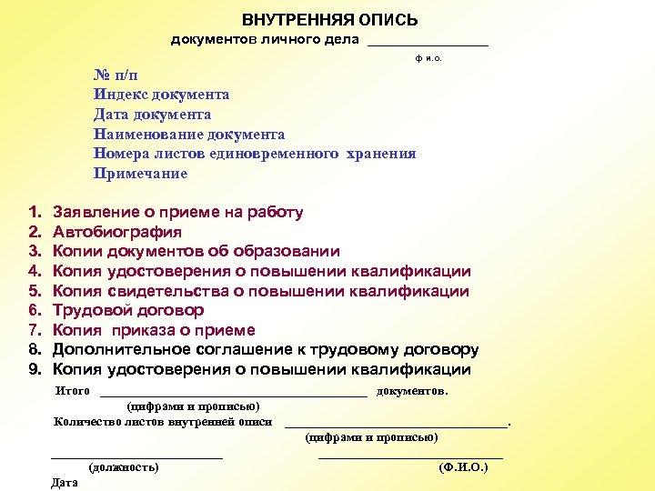 ВНУТРЕННЯЯ ОПИСЬ документов личного дела ________ ф и. о. № п/п Индекс документа Дата
