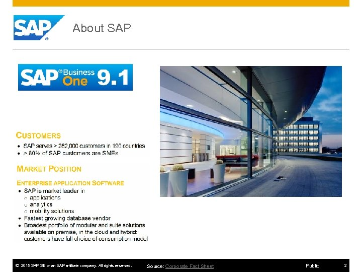 About SAP © 2015 SAP SE or an SAP affiliate company. All rights reserved.