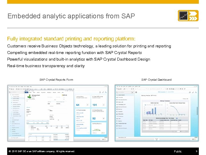 Embedded analytic applications from SAP Fully integrated standard printing and reporting platform: Customers receive