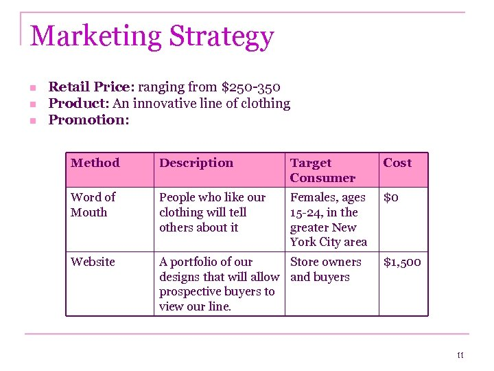 Marketing Strategy n n n Retail Price: ranging from $250 -350 Product: An innovative