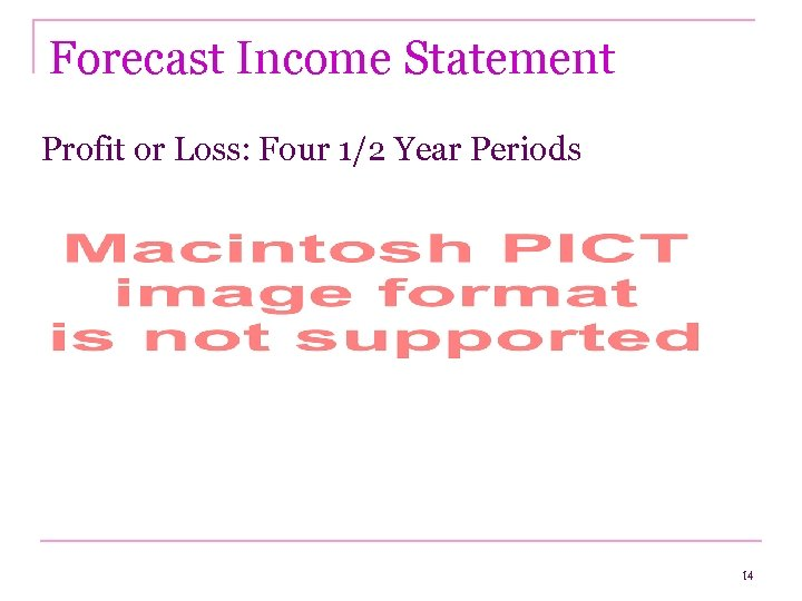 Forecast Income Statement Profit or Loss: Four 1/2 Year Periods 14