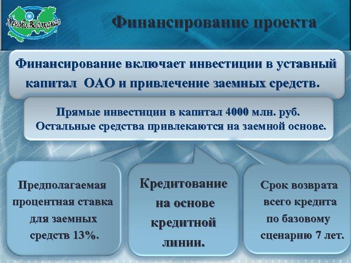 Финансирование проекта Финансирование включает инвестиции в уставный капитал ОАО и привлечение заемных средств Прямые