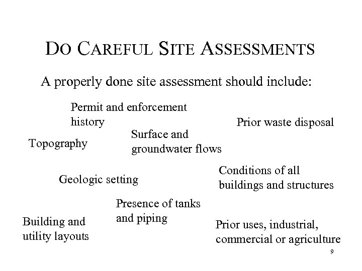 DO CAREFUL SITE ASSESSMENTS A properly done site assessment should include: Permit and enforcement