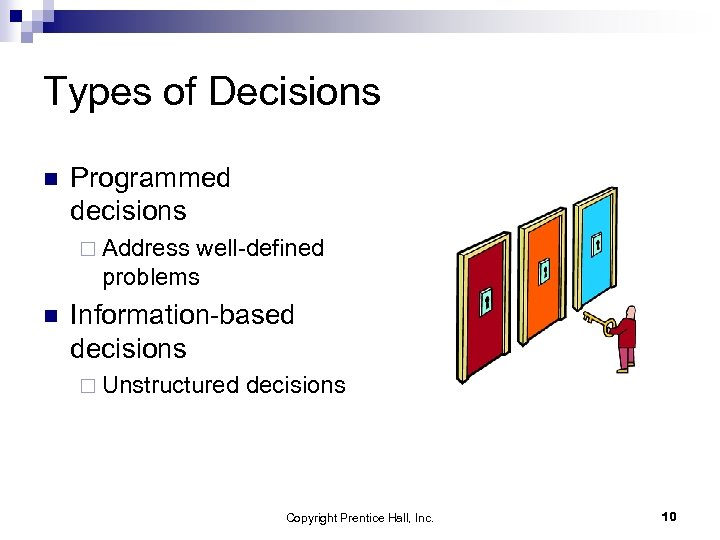 Types of Decisions n Programmed decisions ¨ Address well-defined problems n Information-based decisions ¨