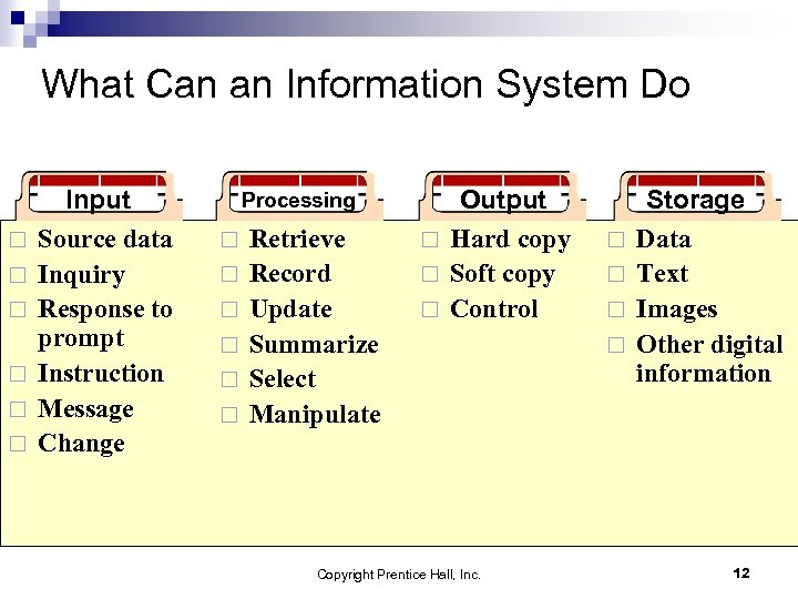 What Can an Information System Do ¨ ¨ ¨ Input Source data Inquiry Response