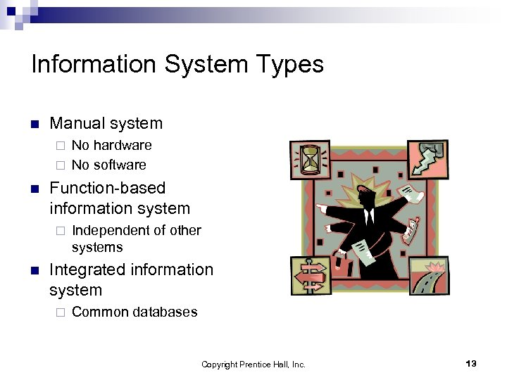 Information System Types n Manual system No hardware ¨ No software ¨ n Function-based