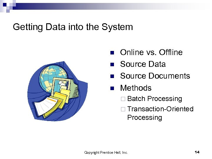 Getting Data into the System n n Online vs. Offline Source Data Source Documents