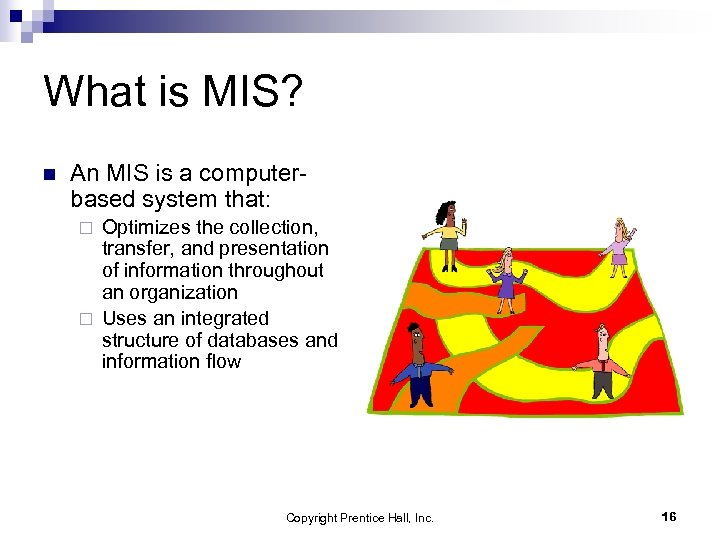What is MIS? n An MIS is a computerbased system that: Optimizes the collection,
