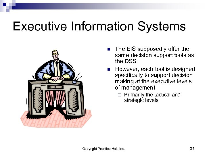 Executive Information Systems n n The EIS supposedly offer the same decision support tools