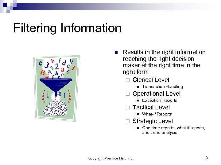 Filtering Information n Results in the right information reaching the right decision maker at