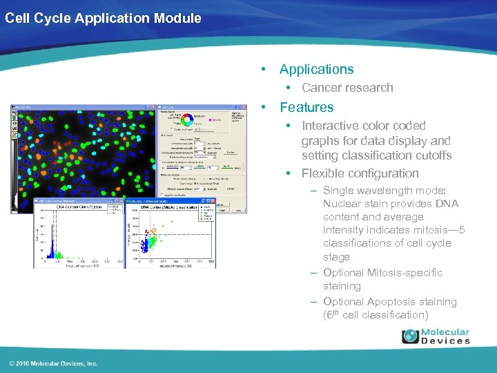 Cell Cycle Application Module • Applications • Cancer research • Features • Interactive color