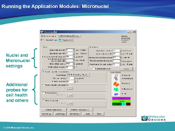 Running the Application Modules: Micronuclei Nuclei and Micronuclei settings Additional probes for cell health