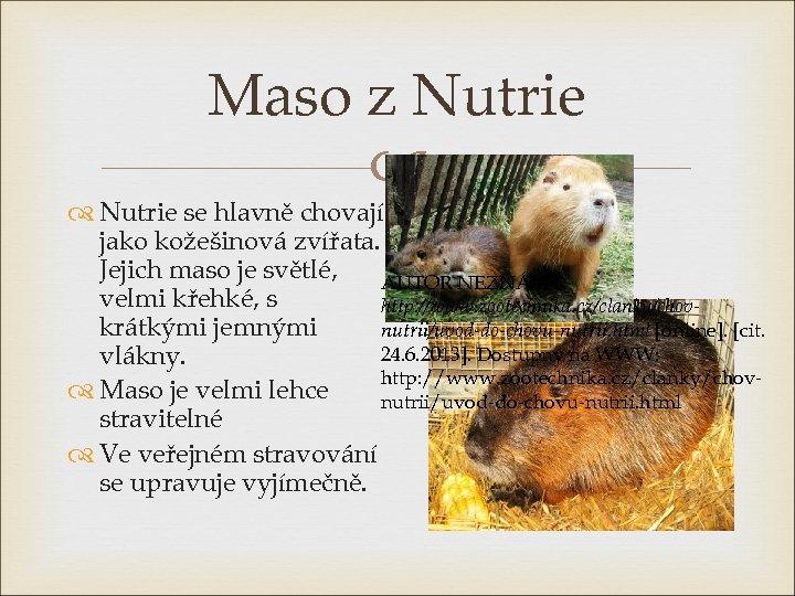 Maso z Nutrie se hlavně chovají jako kožešinová zvířata. Jejich maso je světlé, AUTOR