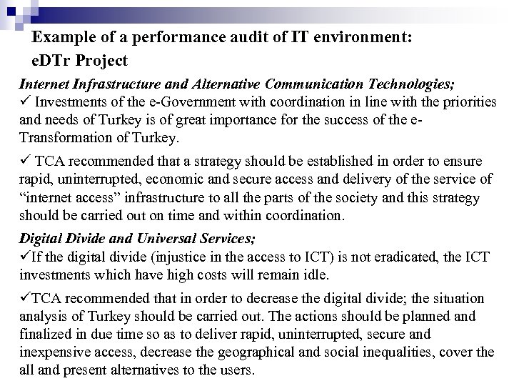 Example of a performance audit of IT environment: e. DTr Project Internet Infrastructure and