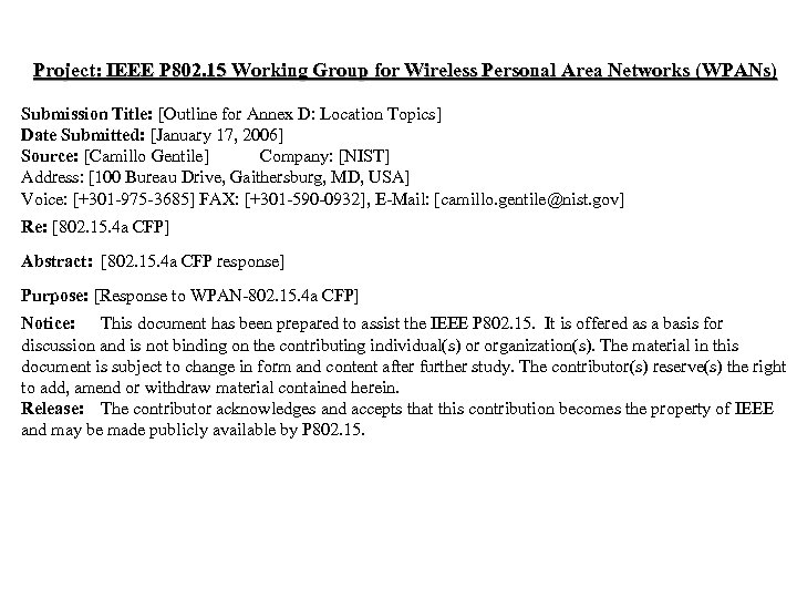 Project: IEEE P 802. 15 Working Group for Wireless Personal Area Networks (WPANs) Submission