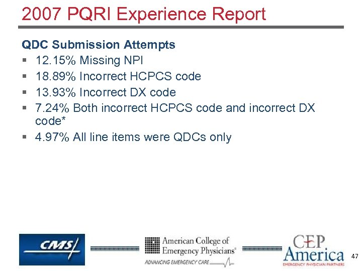 2007 PQRI Experience Report QDC Submission Attempts § 12. 15% Missing NPI § 18.
