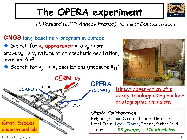 The OPERA experiment H. Pessard (LAPP Annecy France), for the OPERA Collaboration CNGS long-baseline