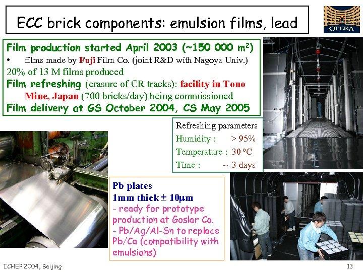 ECC brick components: emulsion films, lead Film production started April 2003 (~150 000 m