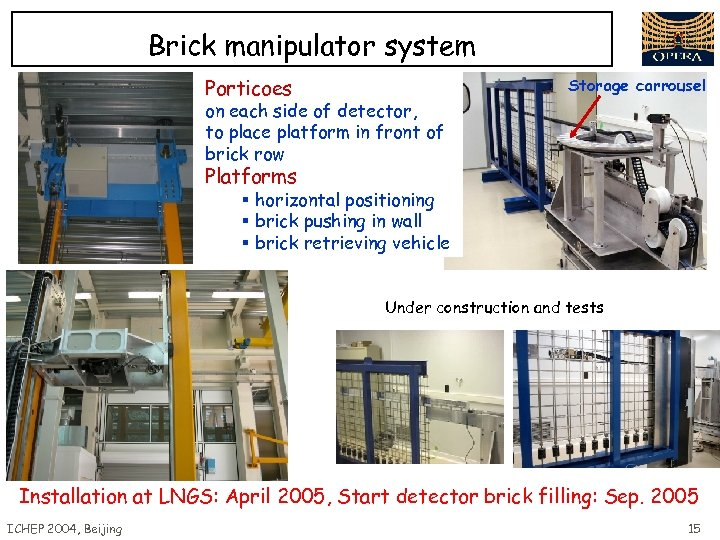 Brick manipulator system Porticoes Storage carrousel on each side of detector, to place platform