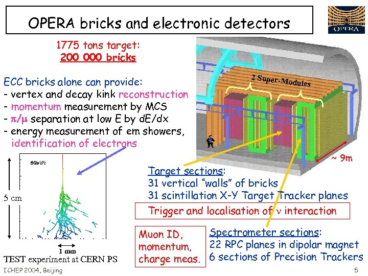 OPERA bricks and electronic detectors 1775 tons target: 200 000 bricks ECC bricks alone