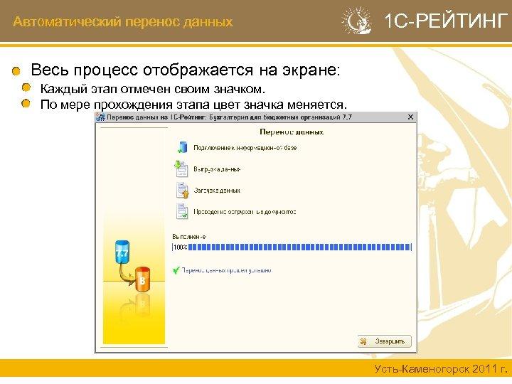 Автоматический перенос данных 1 С-РЕЙТИНГ Весь процесс отображается на экране: Каждый этап отмечен своим