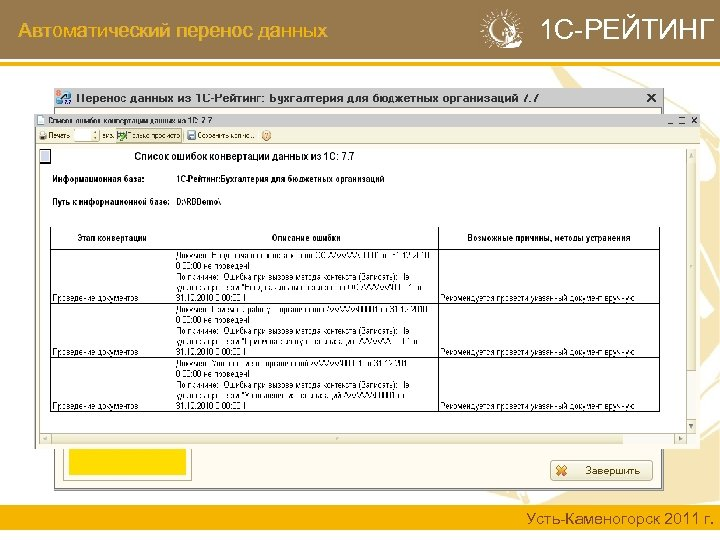Автоматический перенос данных 1 С-РЕЙТИНГ Усть-Каменогорск 2011 г.