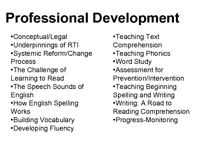 Professional Development • Conceptual/Legal • Underpinnings of RTI • Systemic Reform/Change Process • The