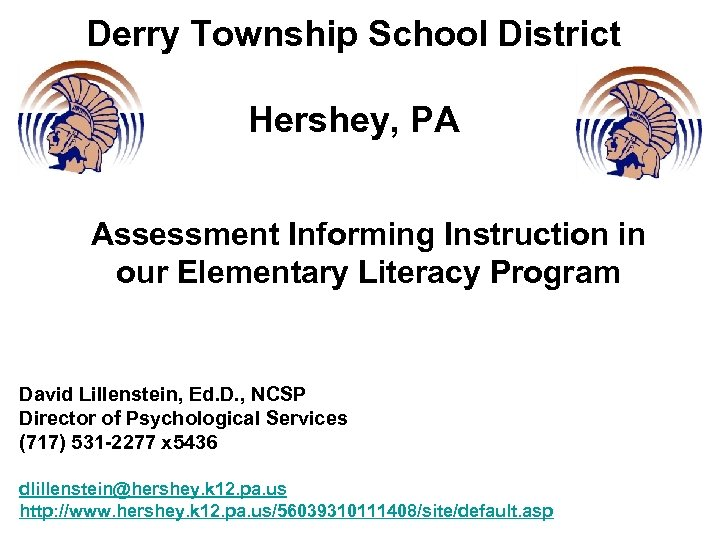 Derry Township School District Hershey, PA Assessment Informing Instruction in our Elementary Literacy Program
