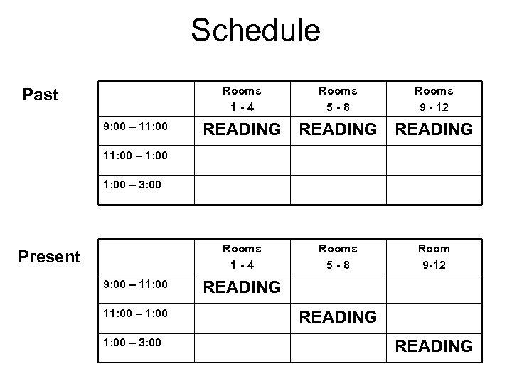 Schedule Rooms 1 -4 9: 00 – 11: 00 Rooms 5 -8 Rooms 9