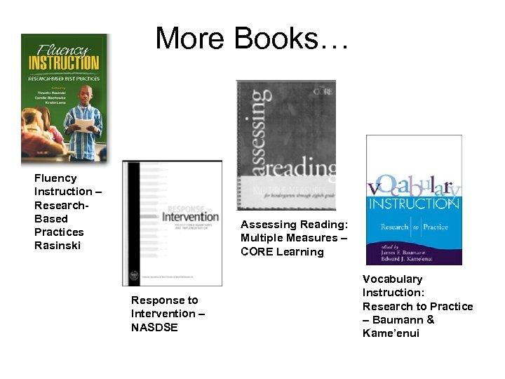 More Books… Fluency Instruction – Research. Based Practices Rasinski Assessing Reading: Multiple Measures –