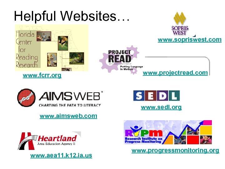 Helpful Websites… www. sopriswest. com www. fcrr. org www. projectread. com www. sedl. org