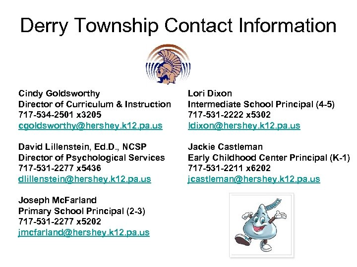 Derry Township Contact Information Cindy Goldsworthy Director of Curriculum & Instruction 717 -534 -2501