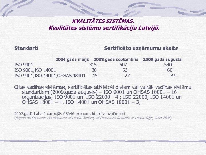 KVALITĀTES SISTĒMAS. Kvalitātes sistēmu sertifikācija Latvijā. Standarti Sertificēto uzņēmumu skaits 2004. gada maijs 2008.