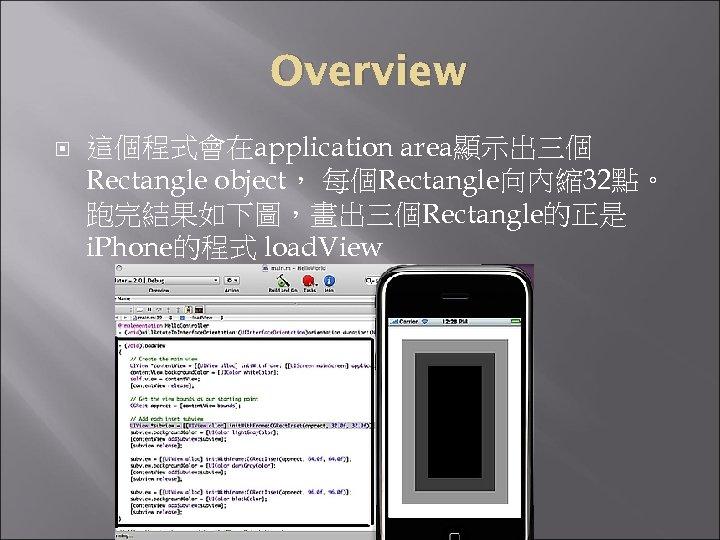 Overview 這個程式會在application area顯示出三個 Rectangle object, 每個Rectangle向內縮 32點。 跑完結果如下圖,畫出三個Rectangle的正是 i. Phone的程式 load. View
