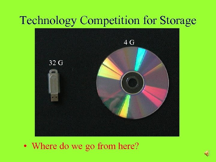 Technology Competition for Storage 4 G 32 G • Where do we go from