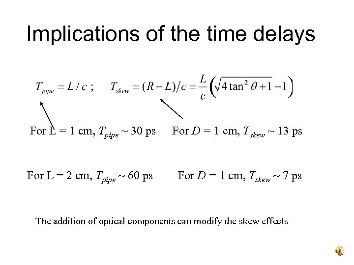 Implications of the time delays For L = 1 cm, Tpipe ~ 30 ps
