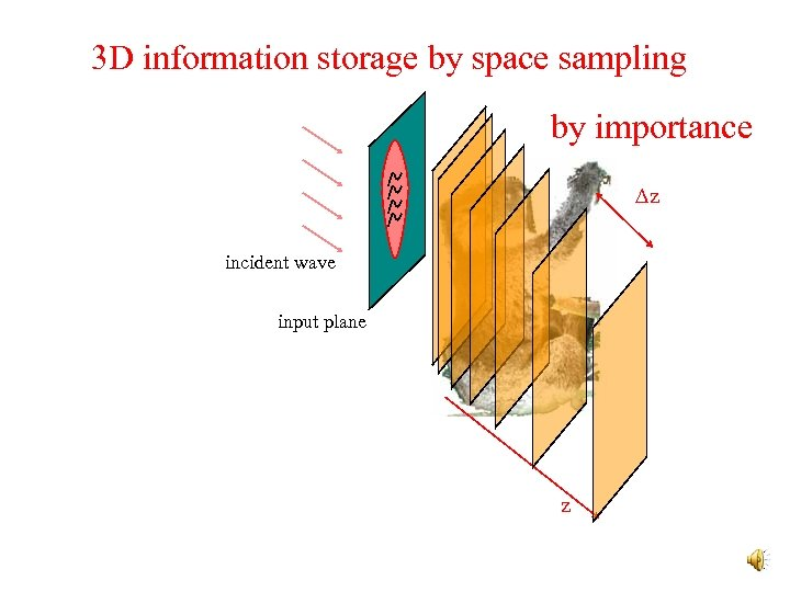 3 D information storage by space sampling by importance Dz incident wave input plane