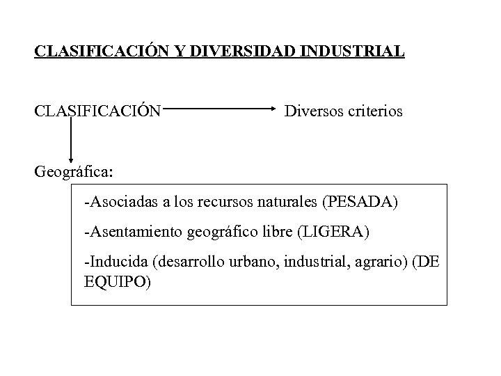 CLASIFICACIÓN Y DIVERSIDAD INDUSTRIAL CLASIFICACIÓN Diversos criterios Geográfica: -Asociadas a los recursos naturales (PESADA)