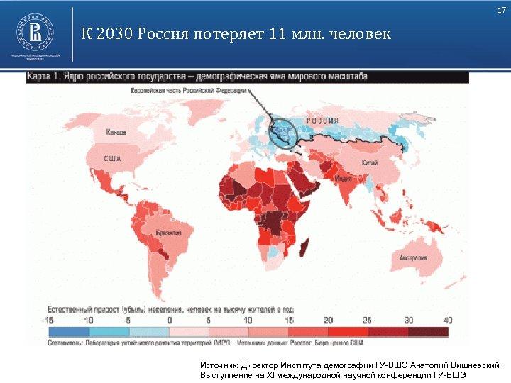 17 К 2030 Россия потеряет 11 млн. человек Высшая школа экономики, Москва, 2011 Источник: