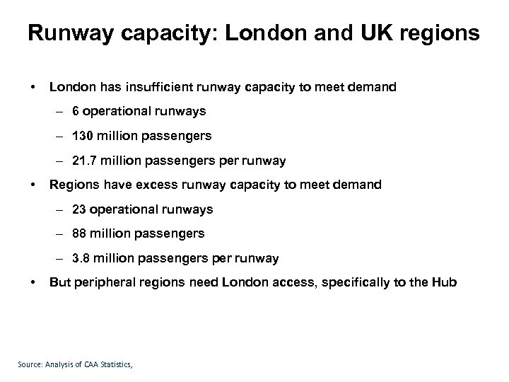 Runway capacity: London and UK regions • London has insufficient runway capacity to meet